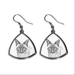 Collection of earrings with images of purebred cats, unique gift
