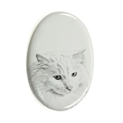 Gravestone oval ceramic tile with an image of a cat.