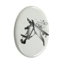 Gravestone oval ceramic tile with an image of a horse