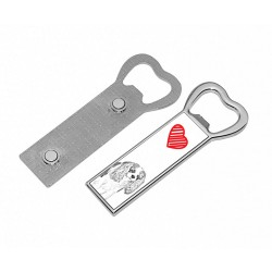 Metal bottle opener with a magnet for the fridge with the image of a dog.