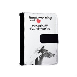 Notebook with the calendar of eco-leather with an image of a horse.