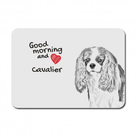 A mouse pad with the image of a dog.