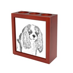 Portacandele/portapenne di legno con l'immagine di un cane