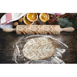 Engraved rolling pin. Original shape. Laser Engraved for cookies. Decorating roller