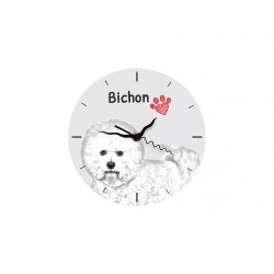 Bichon Frise - Free standing clock, made of MDF board, with an image of a dog.
