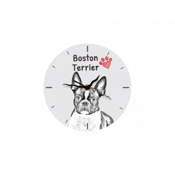 Free standing MDF floor clock with an image of a dog.