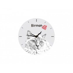 Persian Cat - Free standing clock, made of MDF board, with an image of a cat.
