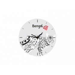 Free standing MDF floor clock with an image of a cat.