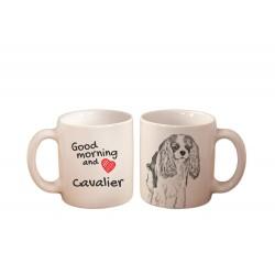 """Una tazza con un cane. """"Good morning and love ..."""". Di alta qualità tazza di ceramica."""