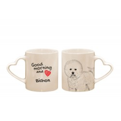 "Mug with a dog. ""Good morning and love ..."". High quality ceramic mug."