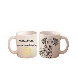 "Mug with a dog and description ""... makes me happy"""