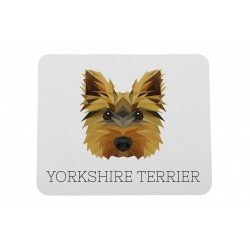 A computer mouse pad with a Yorkshire Terrier dog. A new collection with the geometric dog