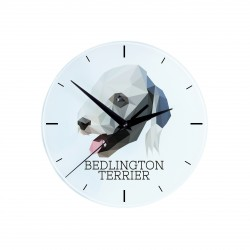 Hanging glass clock with an image of a dog.