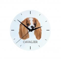 Orologio da tavolo realizzato in lastra di MDF con immagine di cane.