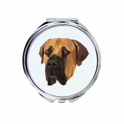 Pocket mirror with the image of a dog.
