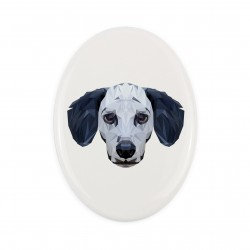 Gravestone oval ceramic tile with an image of a dog.