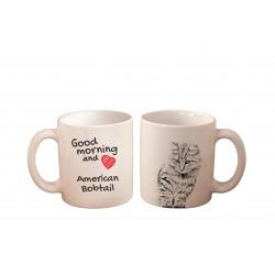 "Mug with a cat. ""Good morning and love ..."". High quality ceramic mug."